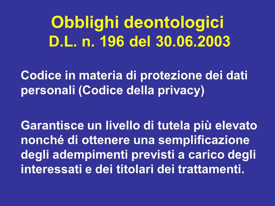Obblighi deontologici D.L. n. 196 del 30.06.2003 Codice in materia di protezione dei dati personali (Codice della privacy) Garantisce un livello di tu