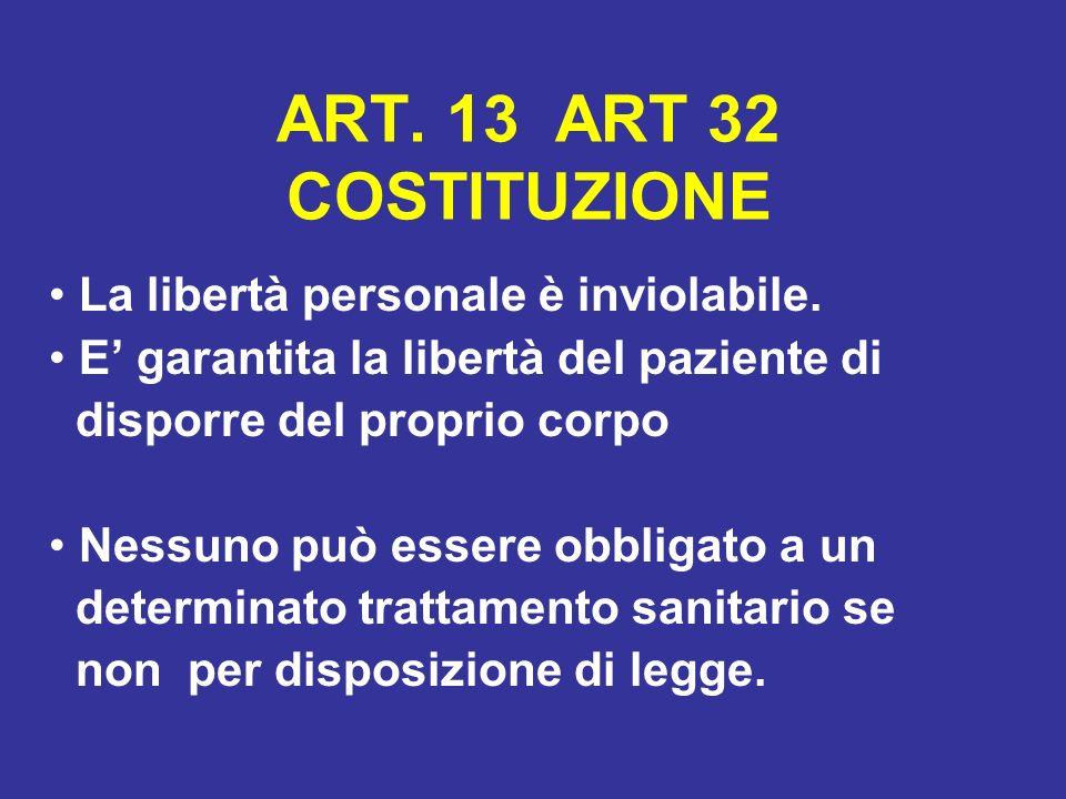 ART. 13 ART 32 COSTITUZIONE La libertà personale è inviolabile. E garantita la libertà del paziente di disporre del proprio corpo Nessuno può essere o