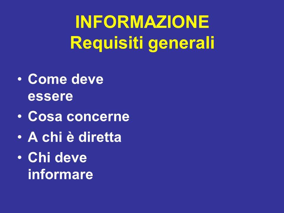 INFORMAZIONE Requisiti generali Come deve essere Cosa concerne A chi è diretta Chi deve informare