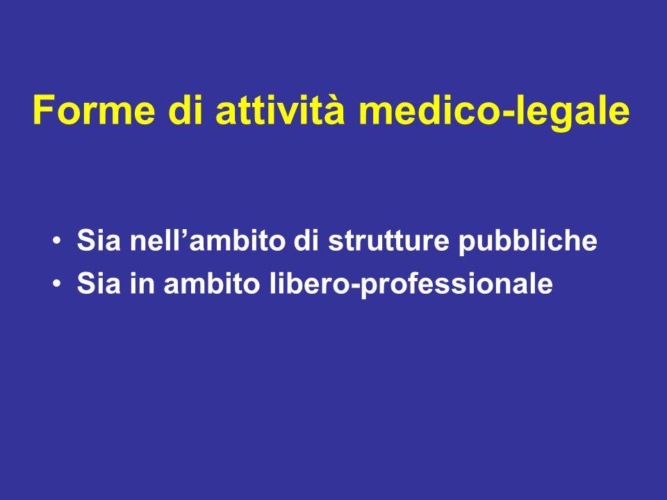 Forme di attività medico-legale Sia nellambito di strutture pubbliche Sia in ambito libero-professionale