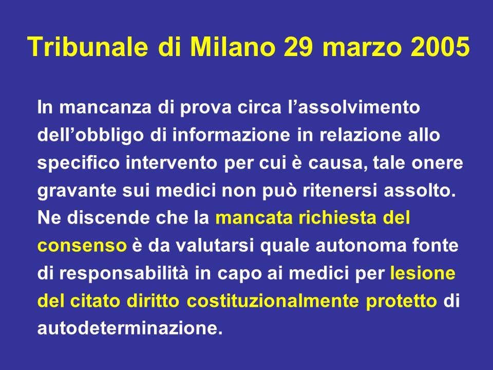 Tribunale di Milano 29 marzo 2005 In mancanza di prova circa lassolvimento dellobbligo di informazione in relazione allo specifico intervento per cui