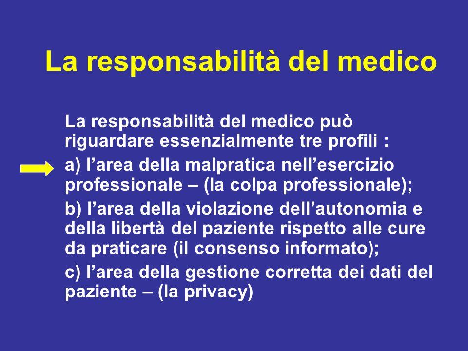 La responsabilità del medico La responsabilità del medico può riguardare essenzialmente tre profili : a) larea della malpratica nellesercizio professi
