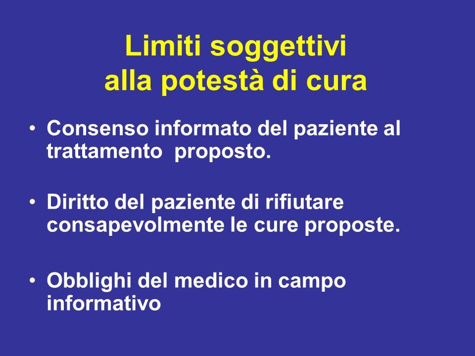 Limiti soggettivi alla potestà di cura Consenso informato del paziente al trattamento proposto. Diritto del paziente di rifiutare consapevolmente le c