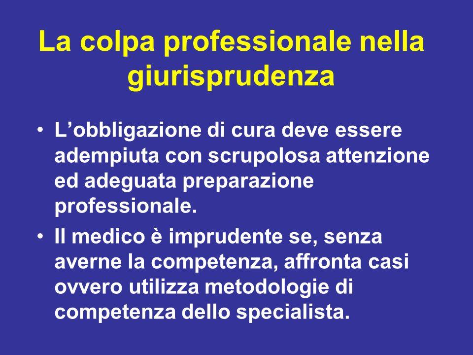 La colpa professionale nella giurisprudenza Lobbligazione di cura deve essere adempiuta con scrupolosa attenzione ed adeguata preparazione professiona