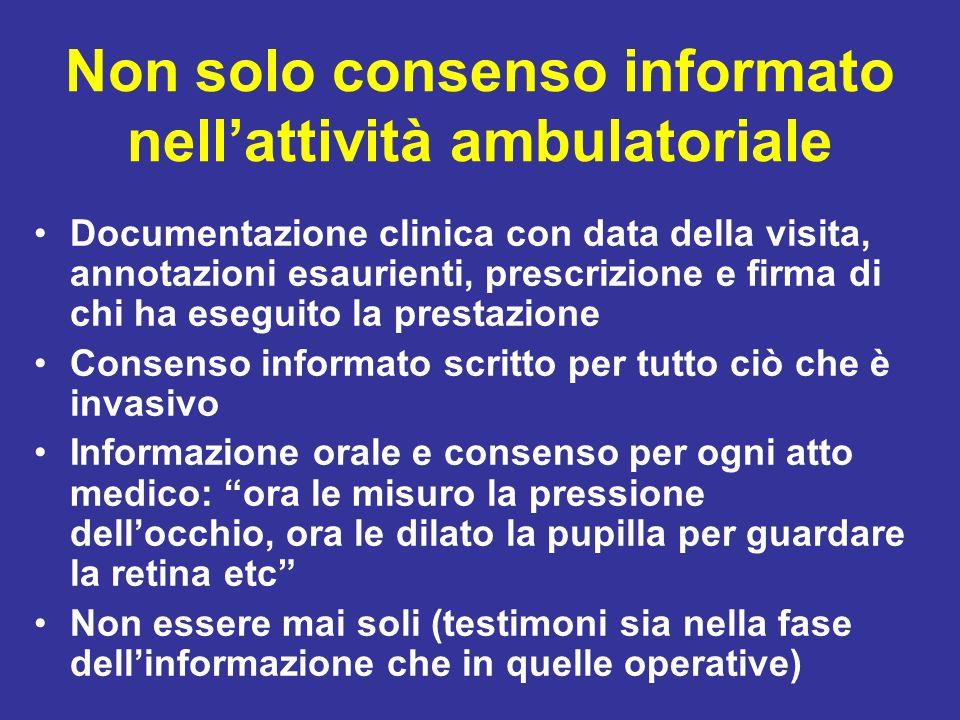 Non solo consenso informato nellattività ambulatoriale Documentazione clinica con data della visita, annotazioni esaurienti, prescrizione e firma di c