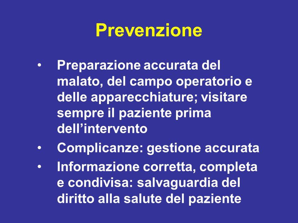 Prevenzione Preparazione accurata del malato, del campo operatorio e delle apparecchiature; visitare sempre il paziente prima dellintervento Complican