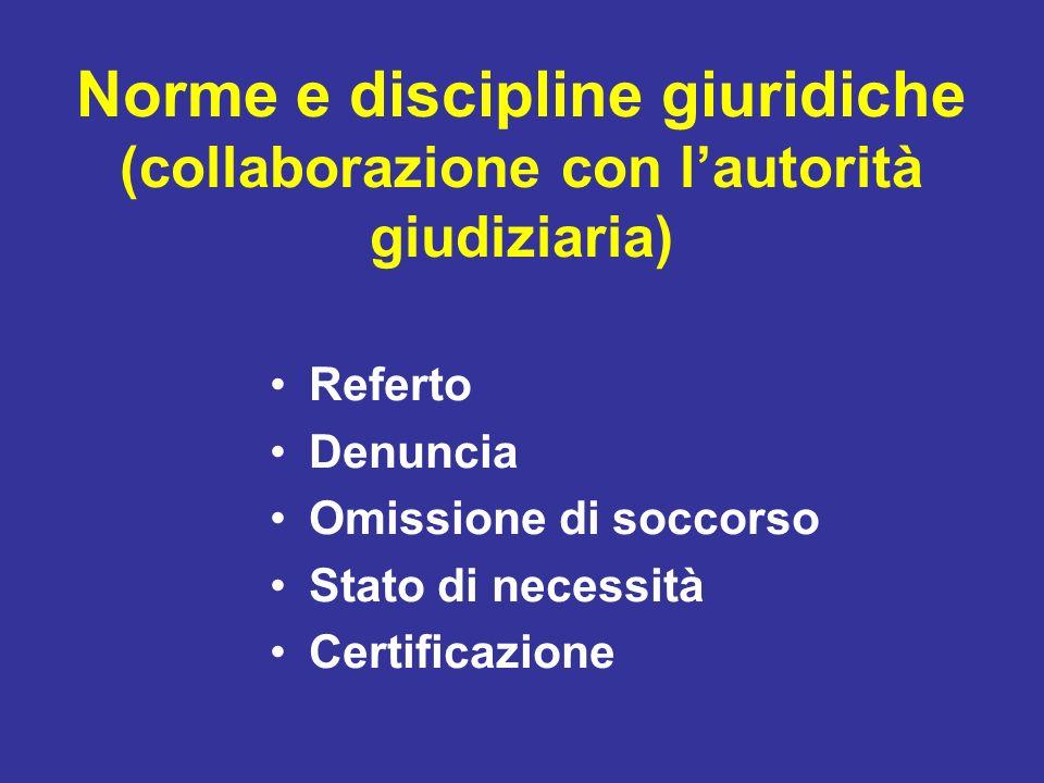 Norme e discipline giuridiche (collaborazione con lautorità giudiziaria) Referto Denuncia Omissione di soccorso Stato di necessità Certificazione
