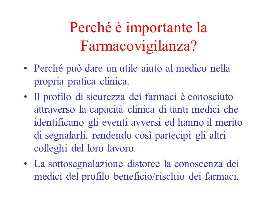 Perché è importante la Farmacovigilanza? Perché può dare un utile aiuto al medico nella propria pratica clinica. Il profilo di sicurezza dei farmaci è
