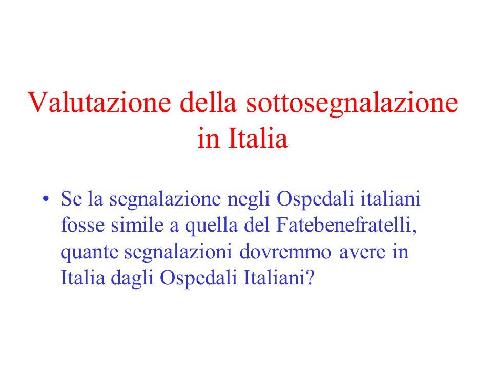 Valutazione della sottosegnalazione in Italia Se la segnalazione negli Ospedali italiani fosse simile a quella del Fatebenefratelli, quante segnalazioni dovremmo avere in Italia dagli Ospedali Italiani