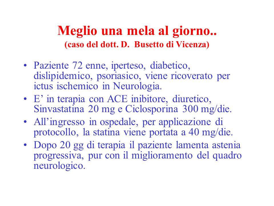 Meglio una mela al giorno.. (caso del dott. D. Busetto di Vicenza) Paziente 72 enne, iperteso, diabetico, dislipidemico, psoriasico, viene ricoverato