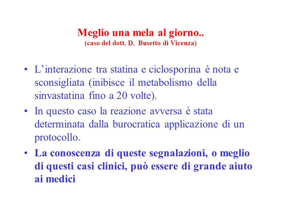 Meglio una mela al giorno.. (caso del dott. D. Busetto di Vicenza) Linterazione tra statina e ciclosporina è nota e sconsigliata (inibisce il metaboli
