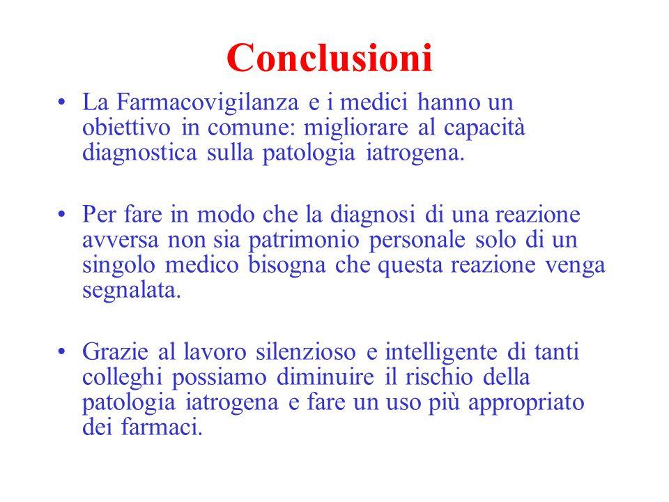 Conclusioni La Farmacovigilanza e i medici hanno un obiettivo in comune: migliorare al capacità diagnostica sulla patologia iatrogena.