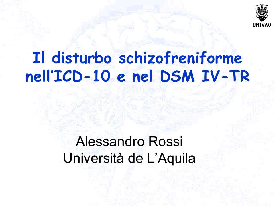 UNIVAQ Il disturbo schizofreniforme nellICD-10 e nel DSM IV-TR Alessandro Rossi Università de LAquila