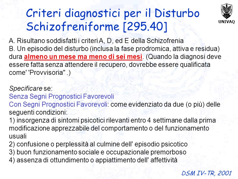 UNIVAQ A. Risultano soddisfatti i criteri A, D, ed E della Schizofrenia B. Un episodio del disturbo (inclusa la fase prodromica, attiva e residua) dur