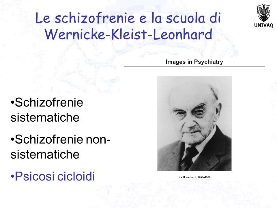 UNIVAQ Le schizofrenie e la scuola di Wernicke-Kleist-Leonhard Schizofrenie sistematiche Schizofrenie non- sistematiche Psicosi cicloidi