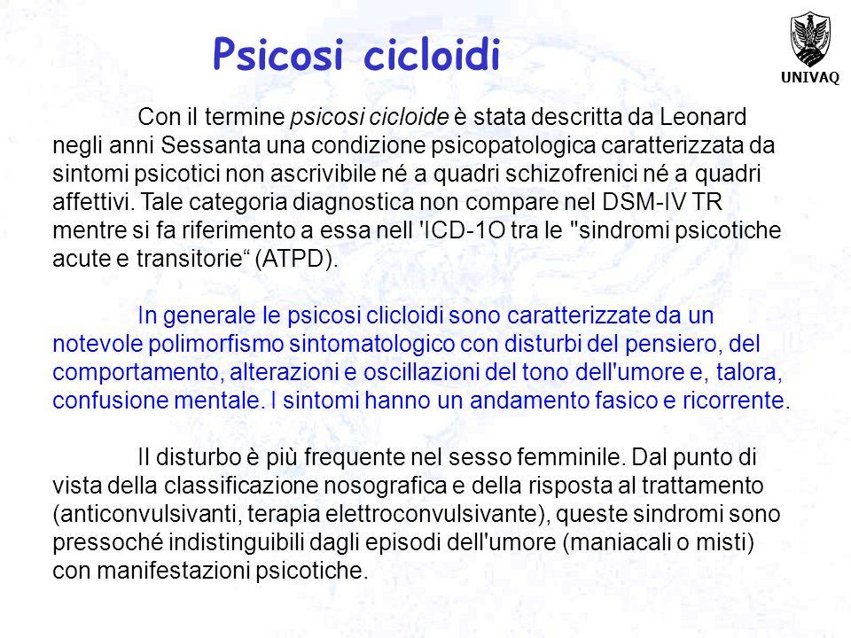 UNIVAQ Con il termine psicosi cicloide è stata descritta da Leonard negli anni Sessanta una condizione psicopatologica caratterizzata da sintomi psico