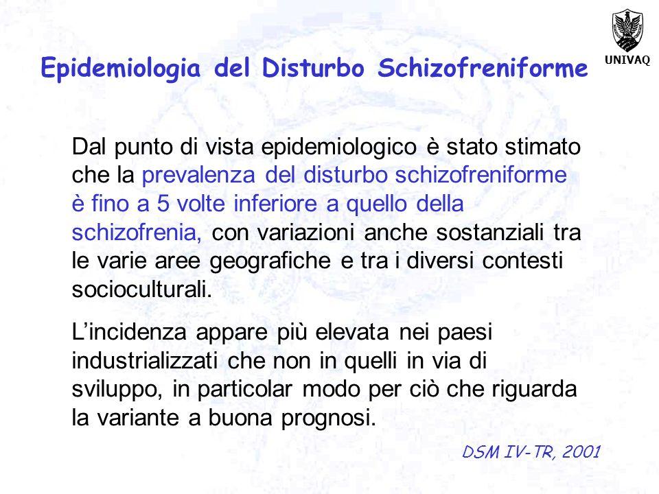 UNIVAQ Dal punto di vista epidemiologico è stato stimato che la prevalenza del disturbo schizofreniforme è fino a 5 volte inferiore a quello della sch