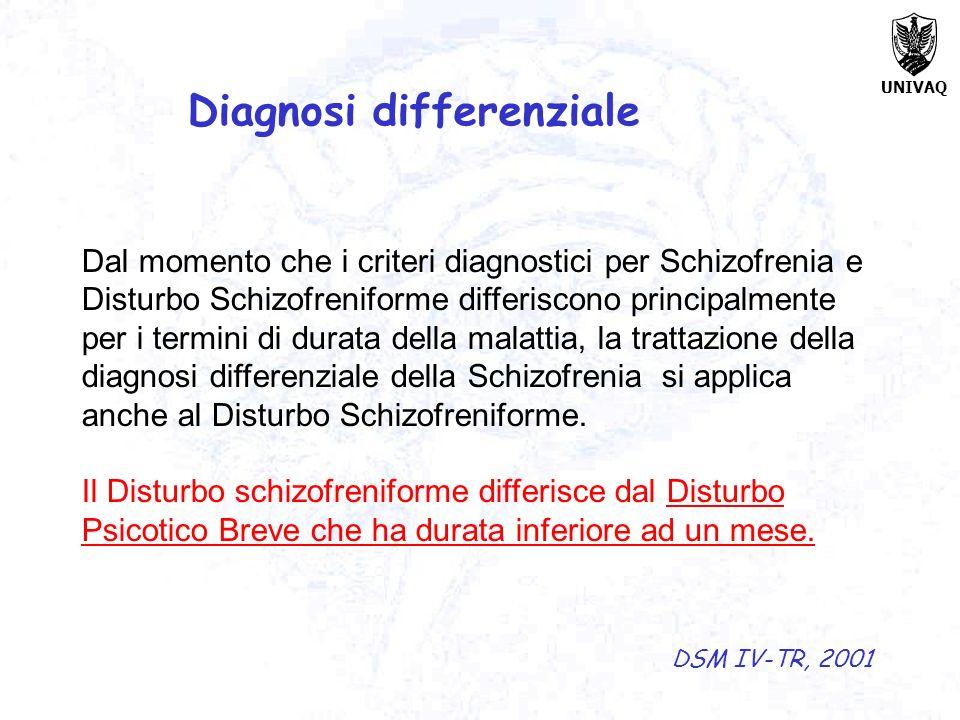 UNIVAQ Dal momento che i criteri diagnostici per Schizofrenia e Disturbo Schizofreniforme differiscono principalmente per i termini di durata della ma