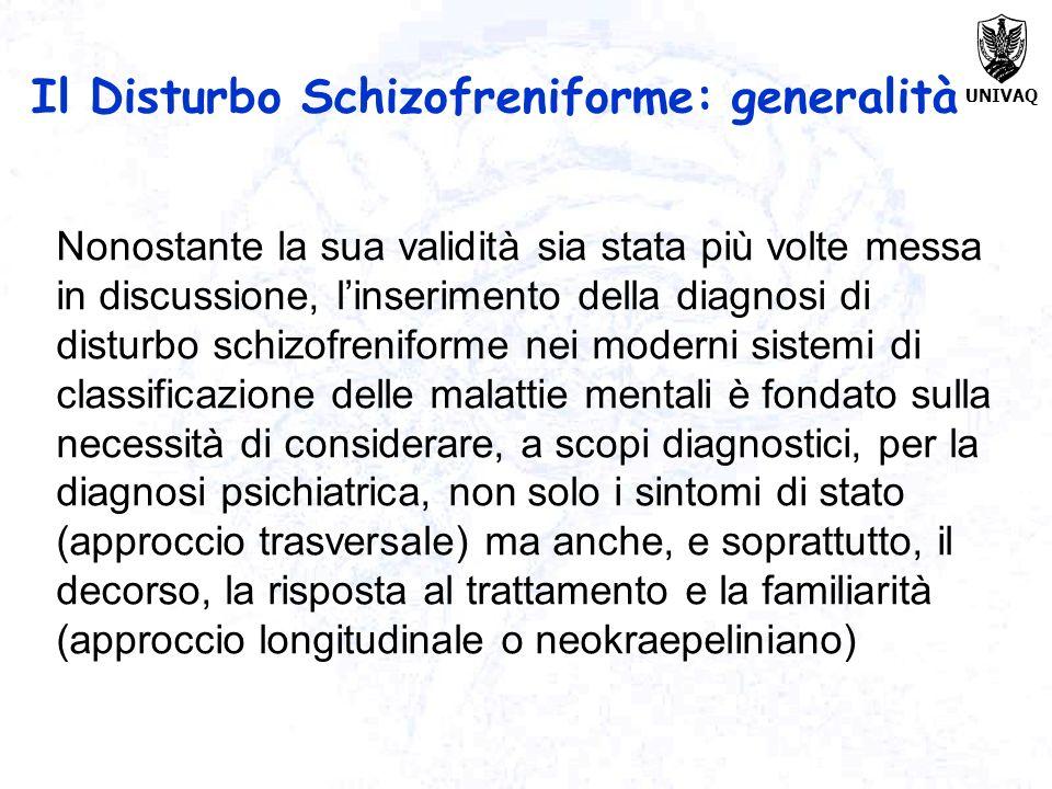 UNIVAQ Nonostante la sua validità sia stata più volte messa in discussione, linserimento della diagnosi di disturbo schizofreniforme nei moderni siste