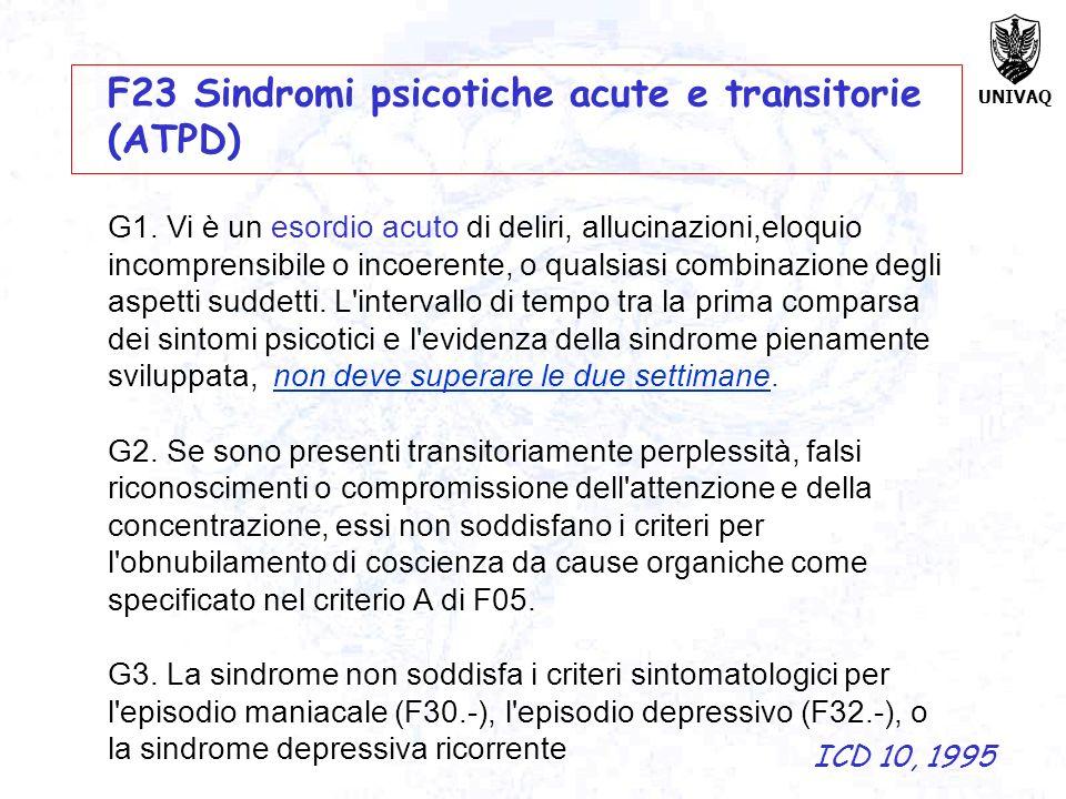 UNIVAQ F23 Sindromi psicotiche acute e transitorie (ATPD) G1. Vi è un esordio acuto di deliri, allucinazioni,eloquio incomprensibile o incoerente, o q