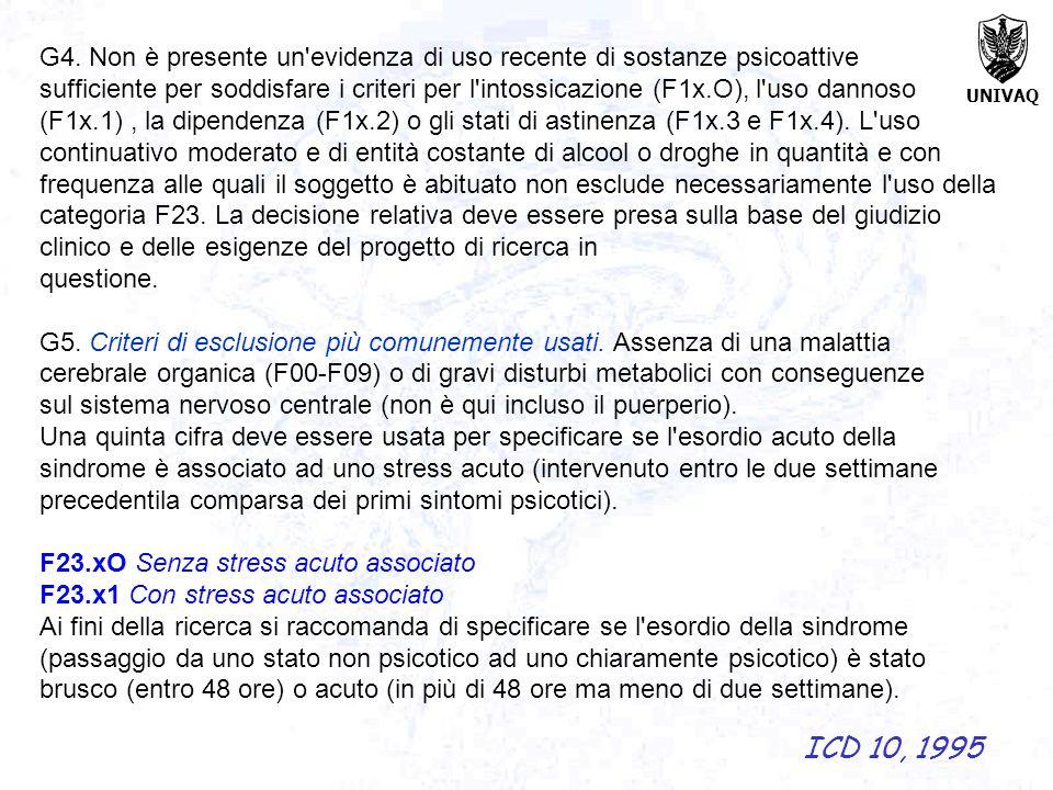 UNIVAQ G4. Non è presente un'evidenza di uso recente di sostanze psicoattive sufficiente per soddisfare i criteri per l'intossicazione (F1x.O), l'uso