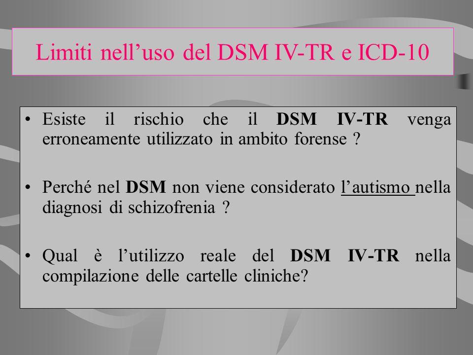 Esiste il rischio che il DSM IV-TR venga erroneamente utilizzato in ambito forense ? Perché nel DSM non viene considerato lautismo nella diagnosi di s