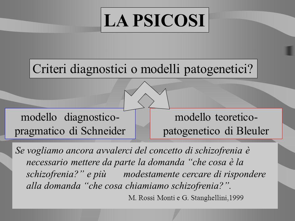 Criteri diagnostici o modelli patogenetici? LA PSICOSI modello diagnostico- pragmatico di Schneider modello teoretico- patogenetico di Bleuler Se vogl