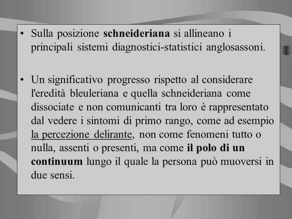 Sulla posizione schneideriana si allineano i principali sistemi diagnostici-statistici anglosassoni. Un significativo progresso rispetto al considerar
