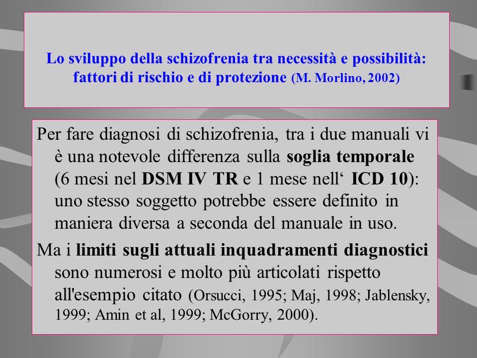 Per fare diagnosi di schizofrenia, tra i due manuali vi è una notevole differenza sulla soglia temporale (6 mesi nel DSM IV TR e 1 mese nell ICD 10):