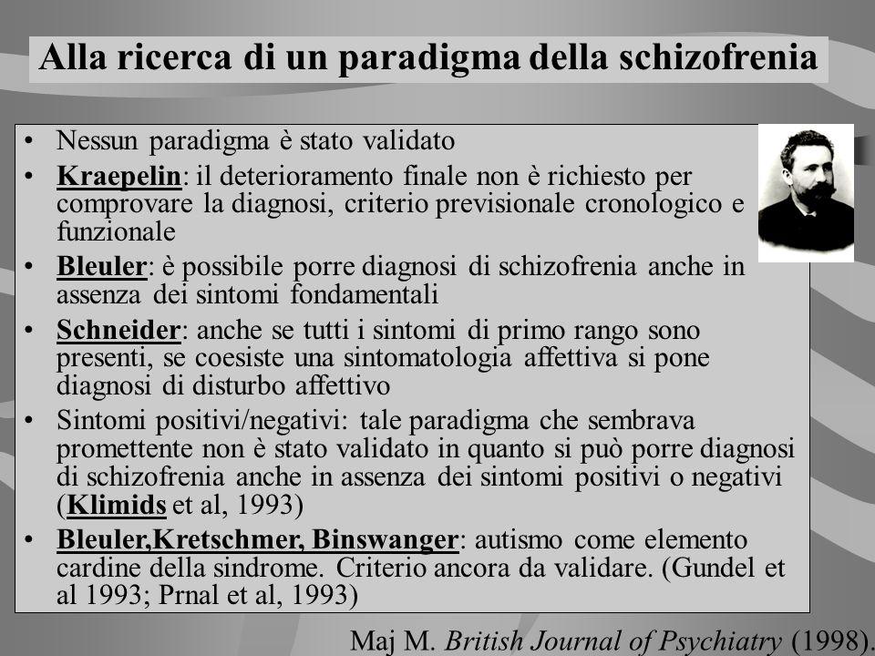 Nessun paradigma è stato validato Kraepelin: il deterioramento finale non è richiesto per comprovare la diagnosi, criterio previsionale cronologico e