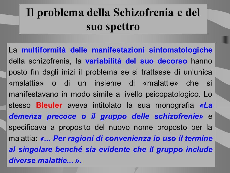 Il problema della Schizofrenia e del suo spettro La multiformità delle manifestazioni sintomatologiche della schizofrenia, la variabilità del suo deco