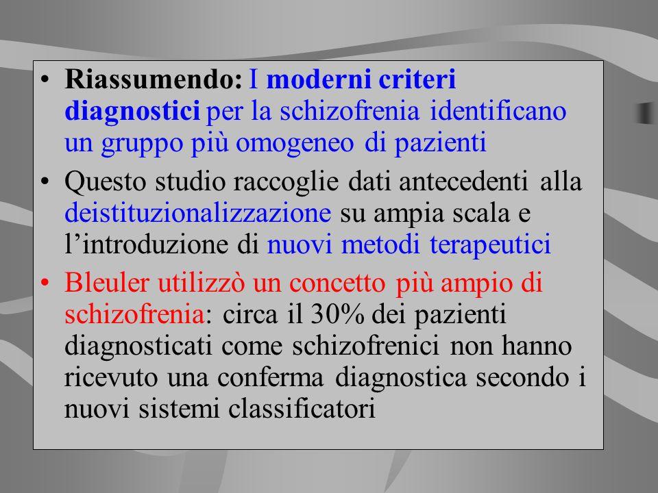 Riassumendo: I moderni criteri diagnostici per la schizofrenia identificano un gruppo più omogeneo di pazienti Questo studio raccoglie dati antecedent