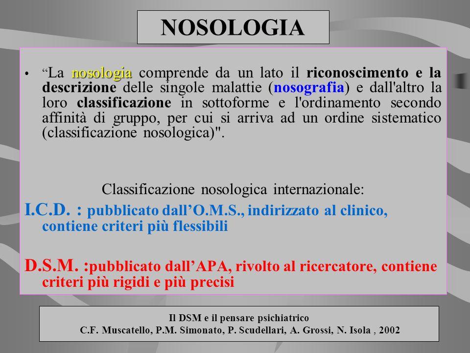 Il DSM e il pensare psichiatrico C.F. Muscatello, P.M. Simonato, P. Scudellari, A. Grossi, N. Isola, 2002 nosologia La nosologia comprende da un lato
