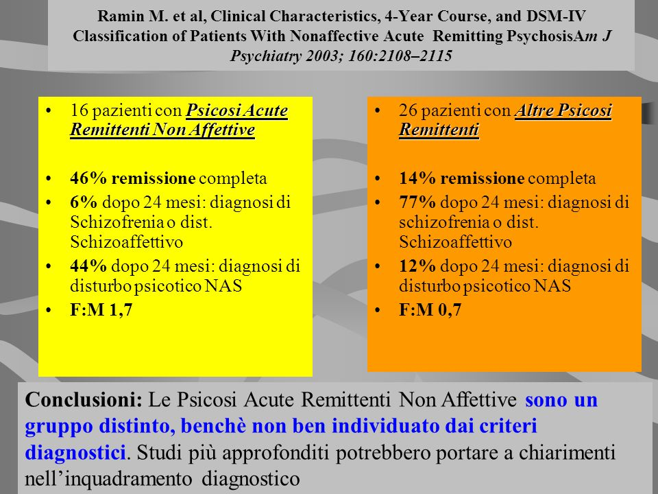 Ramin M. et al, Clinical Characteristics, 4-Year Course, and DSM-IV Classification of Patients With Nonaffective Acute Remitting PsychosisAm J Psychia