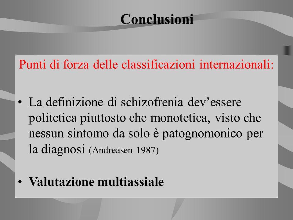 Punti di forza delle classificazioni internazionali: La definizione di schizofrenia devessere politetica piuttosto che monotetica, visto che nessun si