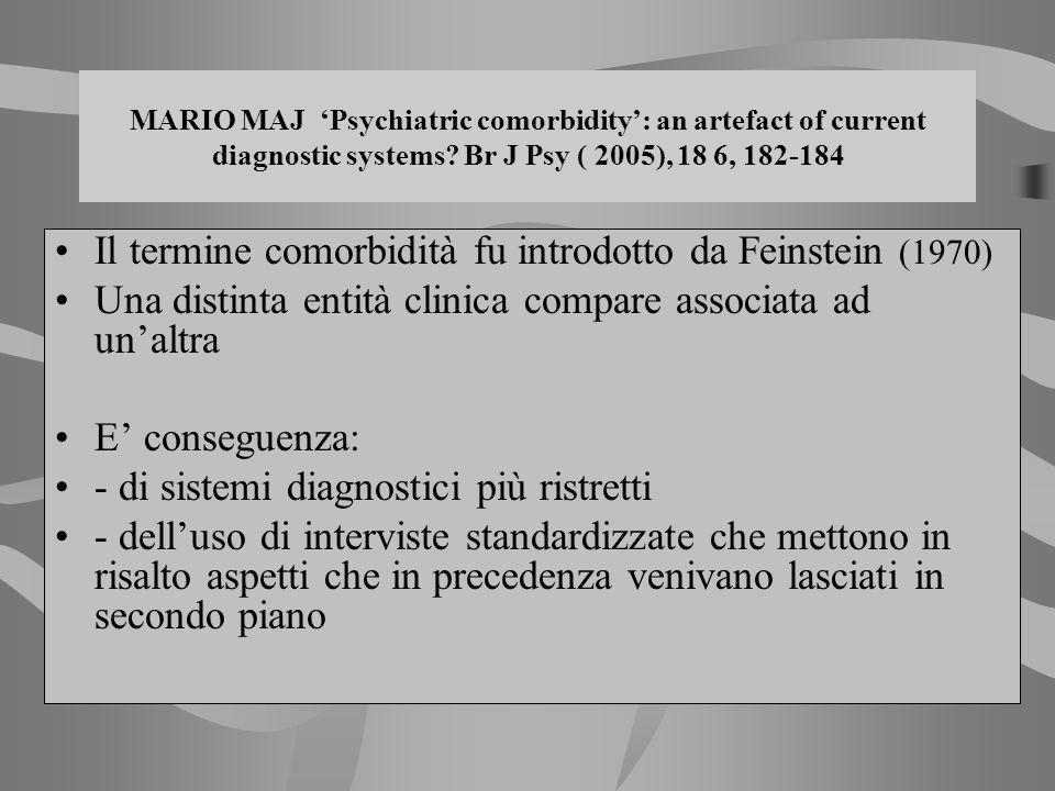 MARIO MAJ Psychiatric comorbidity: an artefact of current diagnostic systems? Br J Psy ( 2005), 18 6, 182-184 Il termine comorbidità fu introdotto da