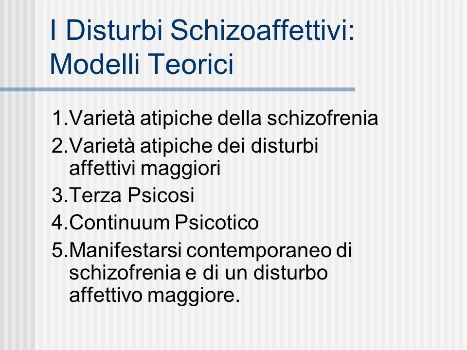 I Disturbi Schizoaffettivi: Modelli Teorici 1.Varietà atipiche della schizofrenia 2.Varietà atipiche dei disturbi affettivi maggiori 3.Terza Psicosi 4