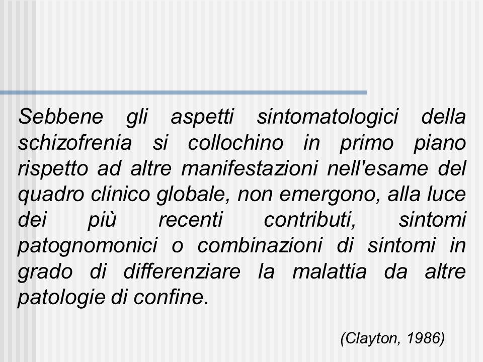 Sebbene gli aspetti sintomatologici della schizofrenia si collochino in primo piano rispetto ad altre manifestazioni nell'esame del quadro clinico glo