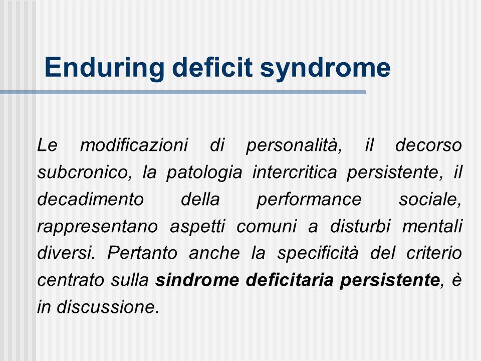 Le modificazioni di personalità, il decorso subcronico, la patologia intercritica persistente, il decadimento della performance sociale, rappresentano