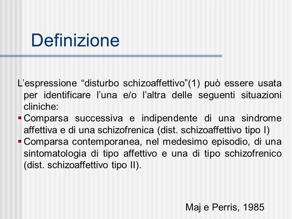 Definizione Lespressione disturbo schizoaffettivo(1) può essere usata per identificare luna e/o laltra delle seguenti situazioni cliniche: Comparsa su
