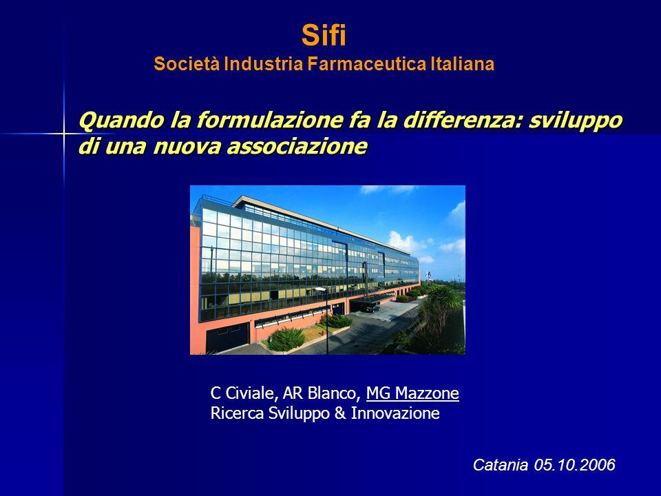 Sifi Società Industria Farmaceutica Italiana Quando la formulazione fa la differenza: sviluppo di una nuova associazione Catania 05.10.2006 C Civiale,
