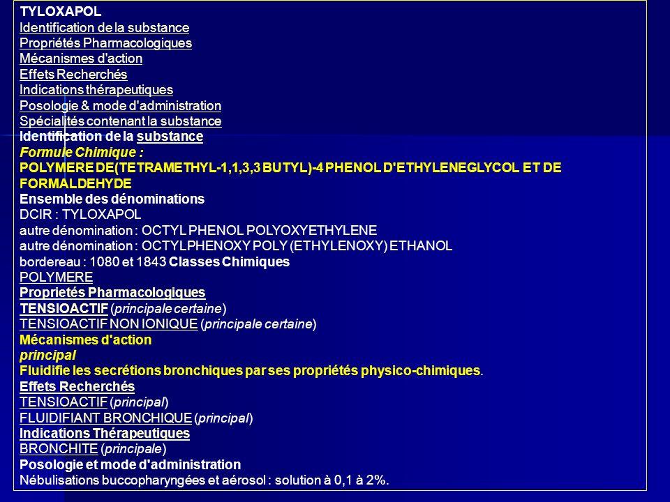 TYLOXAPOL Identification de la substance Propriétés Pharmacologiques Mécanismes d'action Effets Recherchés Indications thérapeutiques Posologie & mode