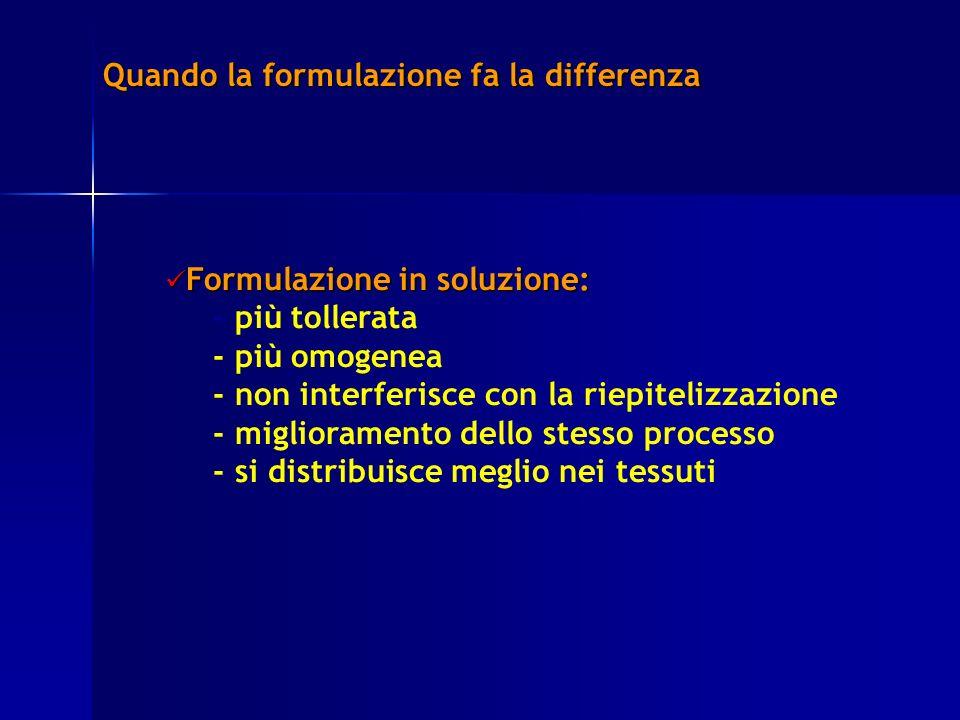 Quando la formulazione fa la differenza Formulazione in soluzione: Formulazione in soluzione: - più tollerata - più omogenea - non interferisce con la