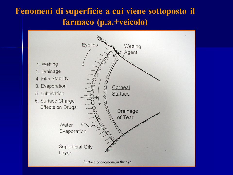 Fenomeni di superficie a cui viene sottoposto il farmaco (p.a.+veicolo)