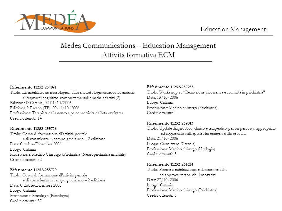 Medea Communications – Education Management Attività formativa ECM Education Management Riferimento 11252-254091 Titolo: La riabilitazione neurologica