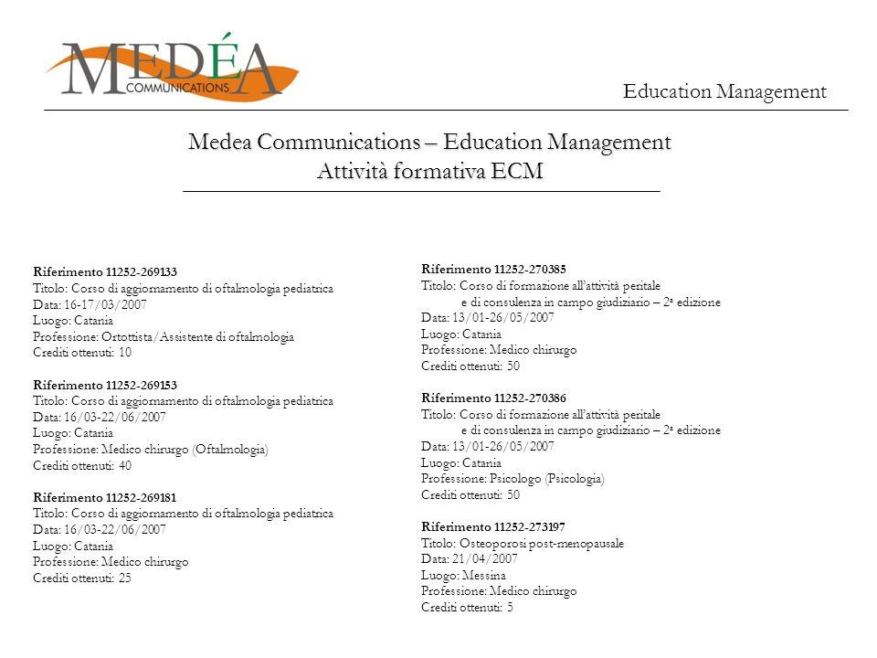 Education Management Medea Communications – Education Management Attività formativa ECM Riferimento 11252-269133 Titolo: Corso di aggiornamento di oft