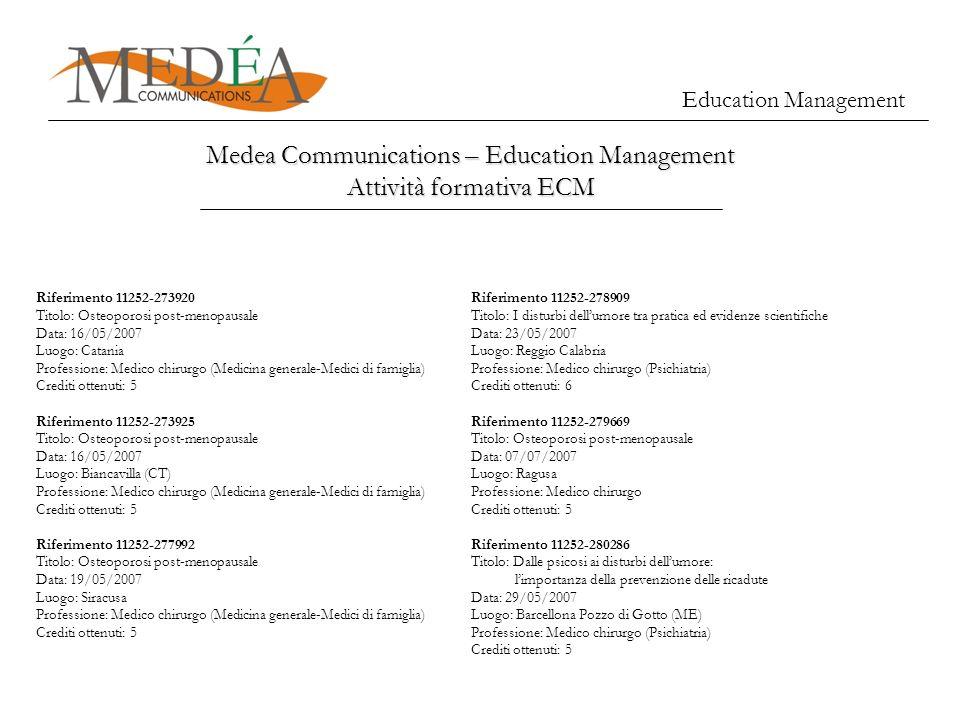 Education Management Medea Communications – Education Management Attività formativa ECM Riferimento 11252-273920 Titolo: Osteoporosi post-menopausale
