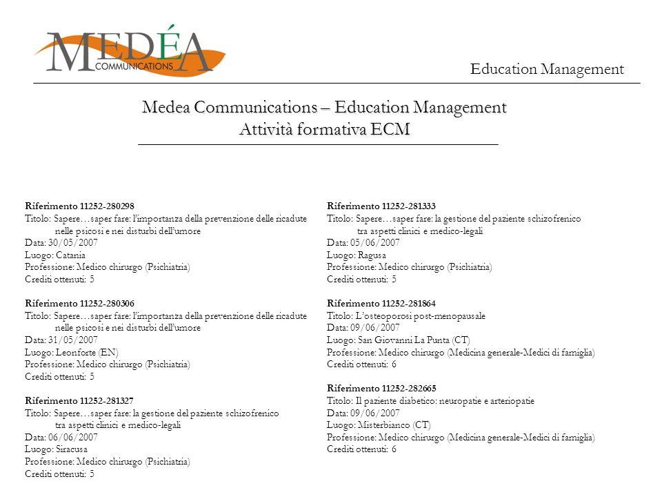 Medea Communications – Education Management Attività formativa ECM Education Management Riferimento 11252-280298 Titolo: Sapere…saper fare: limportanz