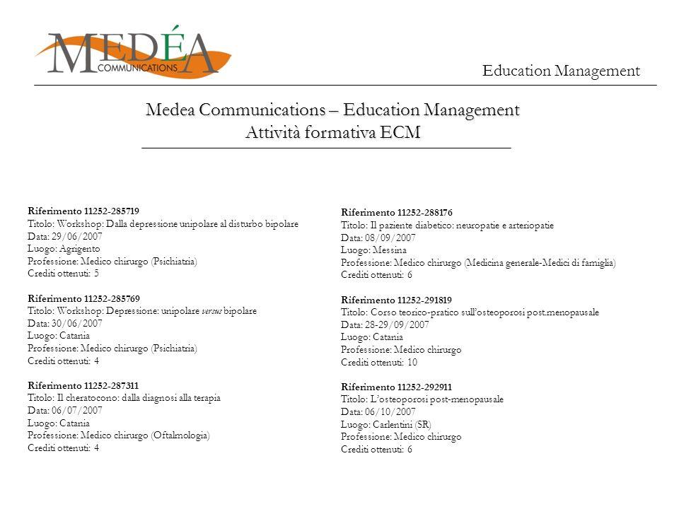 Education Management Medea Communications – Education Management Attività formativa ECM Riferimento 11252-285719 Titolo: Workshop: Dalla depressione u