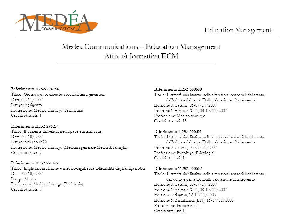Education Management Medea Communications – Education Management Attività formativa ECM Riferimento 11252-294734 Titolo: Giornata di confronto di psic